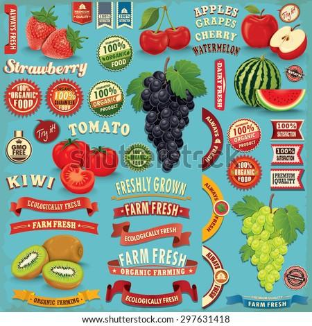 vintage farm fresh fruit poster