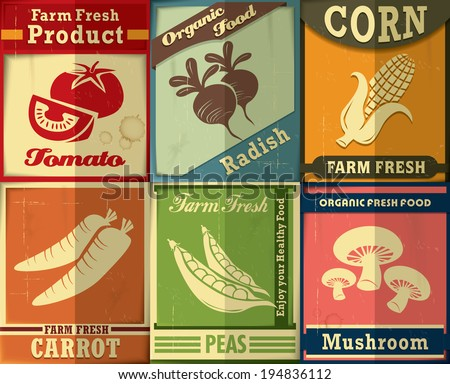 Vintage Farm fresh set poster design