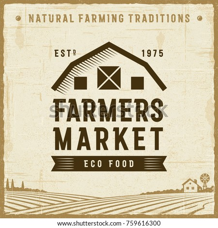 Vintage Farmers Market Label. Editable EPS10 vector illustration with clipping mask and transparency in retro woodcut style.