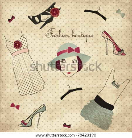 Vintage fashion boutique set