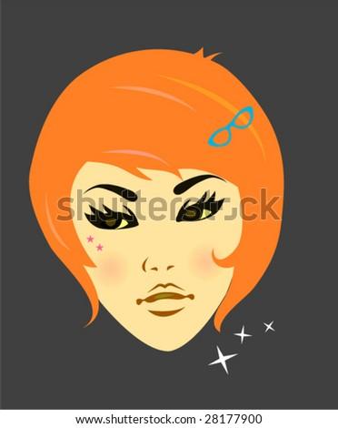 Vintage fashion girl - stock vector