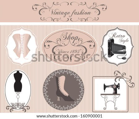 Vintage fashion labels set