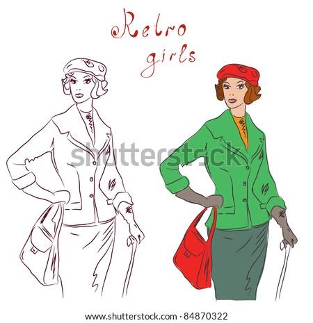 Vintage fashion model at the autumn