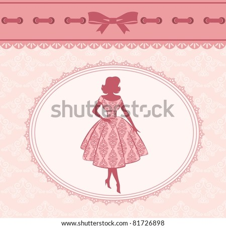 Vintage fashion silhouette of girl on retro background. Vector