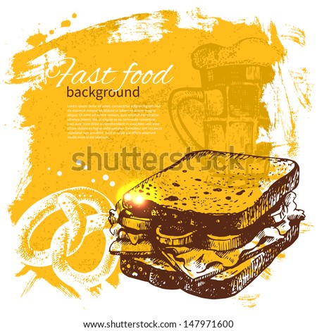 Vintage fast food background Hand drawn illustration Menu design