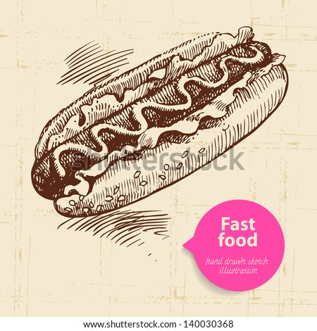 Vintage fast food background with color bubble. Hand drawn illustration
