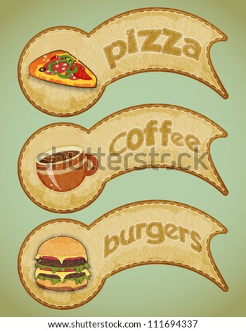 vintage fast food labels - the food on grunge background - Vector illustration