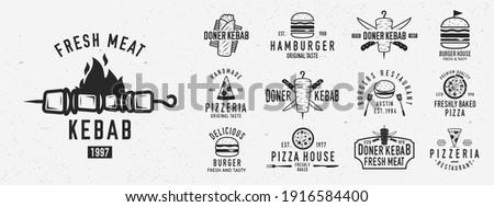 Vintage fast food logo set. Set of 13 fast food logo templates. Bistro, cafe, restaurant menu. Kebab, Burger, Pizza, Hamburger, Shawarma emblems. Trendy vintage hipster design. Vector illustration