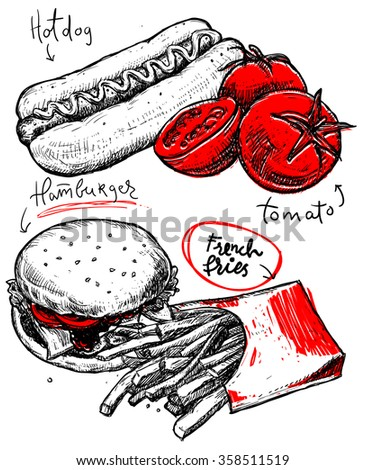 vintage fast food poster hand