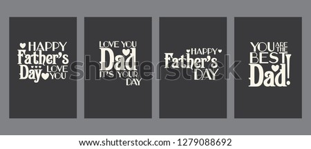Vintage Father's day cards set, templates kit, universal elements for posters, flyers, web- sites, scrapbooking graphics