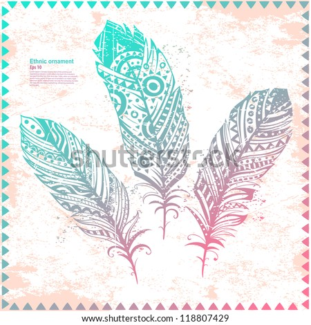Vintage Feather illustration for your greeting card ot fabric print