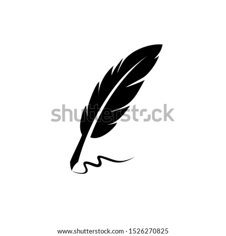 vintage Feather quill pen logo with black ink stroke, scratch icon, classic stationery illustration isolated on white background Foto d'archivio ©