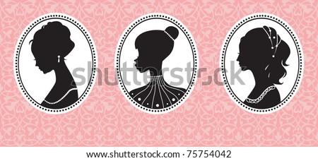 vintage female silhouettes