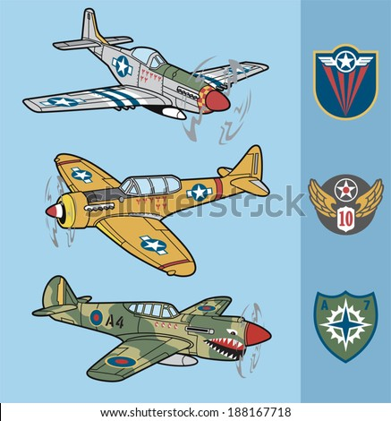 vintage fighter planes set 1