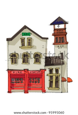 vintage fire station - cartoon