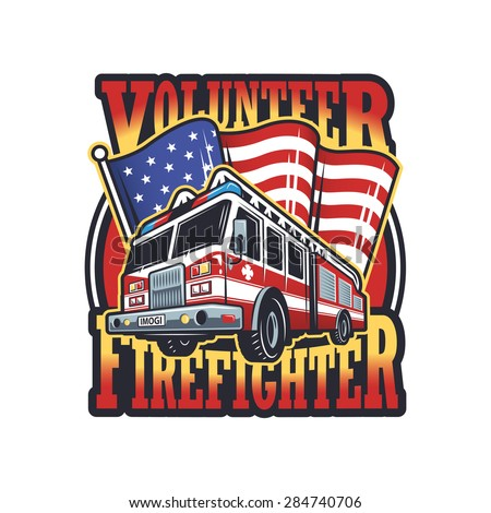 Vintage firefighter emblem with firefighter truck and american flag on light background