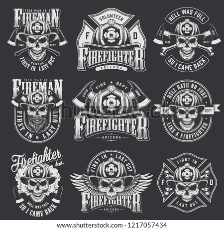 Vintage firefighter logos collection with skulls in fireman helmet crossed axes bones letterings in monochrome style isolated vector illustration