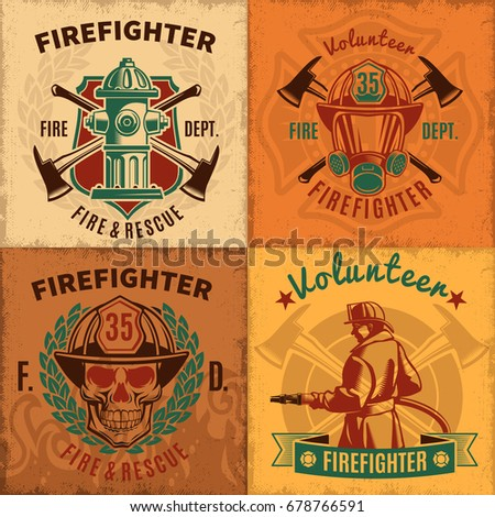 vintage firefighting emblems