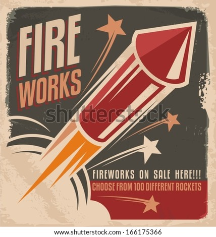 Vintage fireworks poster design. Retro flyer design for fire works rockets retailer.