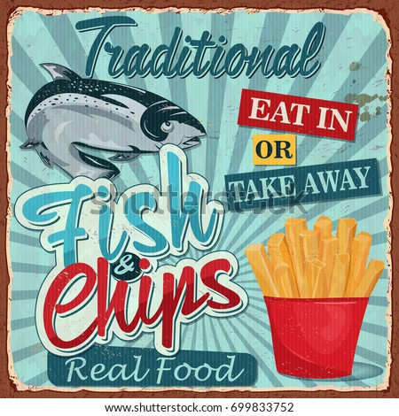 Vintage Fish and chips metal sign.