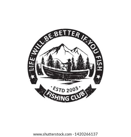 vintage Fishing badges labels, emblems and logo