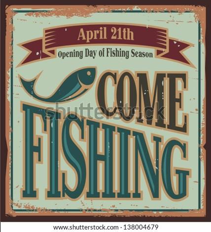 vintage fishing metal sign....