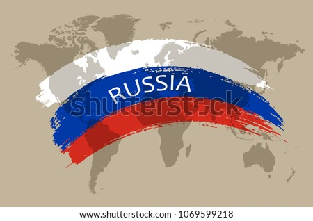 Vintage flag of Russia.Russian flag in grunge style.