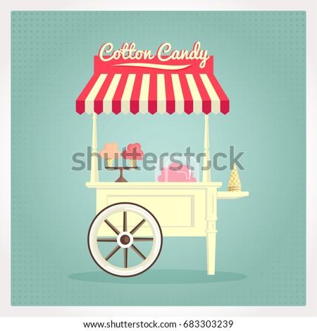 Vintage flat illustration of a cotton candy cart.