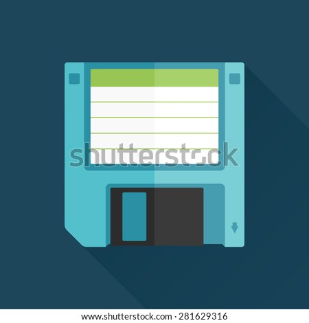 Vintage floppy disk illustration flat graphic with long shadow
