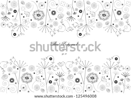 vintage floral backdrop design with plants and flowers in silhouette and place for your text isolated on white background