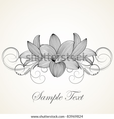 Vintage floral background. Beautiful frame with flowers lily. Element for design.