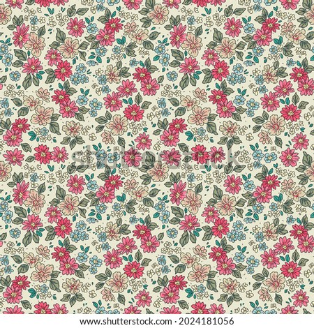 Vintage floral background. Floral pattern with small pastel color flowers on a light gray-green background. Seamless pattern for design and fashion prints. Ditsy style. Stock vector illustration.