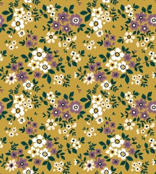 Vintage floral background. Floral pattern with small white and violet flowers on a yellow gold background. Seamless pattern for design and fashion prints. Ditsy style. Stock vector illustration.