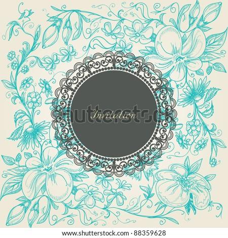 Vintage floral background lace label