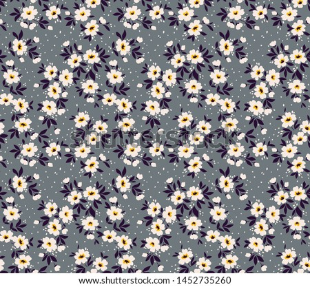 Vintage floral background. Seamless vector pattern for design and fashion prints. Flowers pattern with small white flowers on a gray background. Ditsy style.