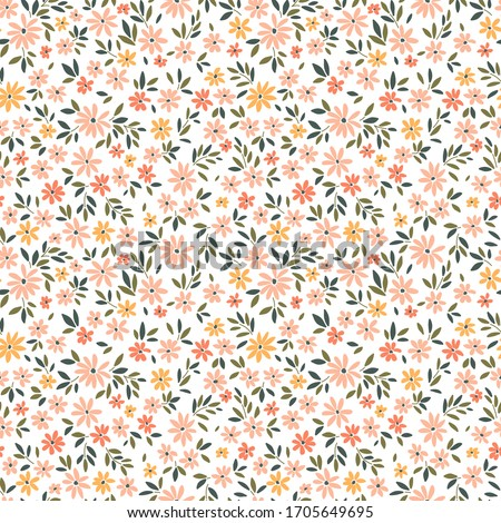 Vintage floral background. Seamless vector patterns for design and fashion prints. Flowers pattern with small pale coral flowers on a white background. Ditsy style.