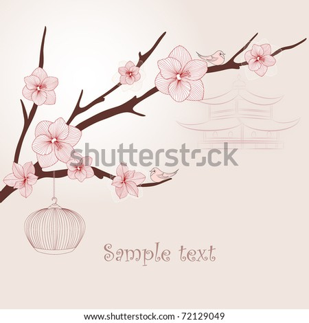 Vintage floral background with birds in the Japanese style.