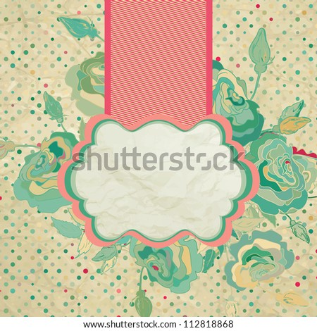 Vintage floral background with ribbon. And also includes EPS 8 vector