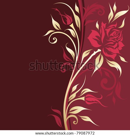 Vintage floral banner with gold roses silhouette