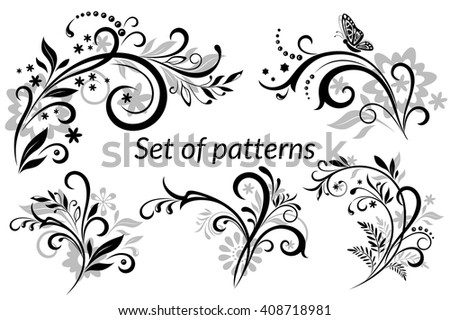 Vintage Floral Calligraphic Patterns