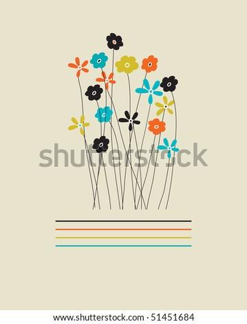 Vintage floral card.Vector.