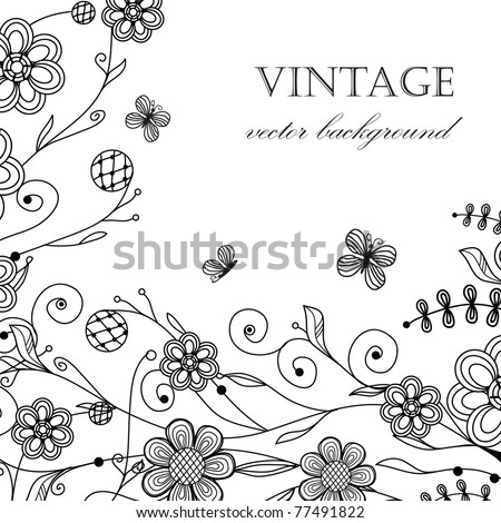 Vintage floral card with handdrawn flowers and butterflies - stock vector