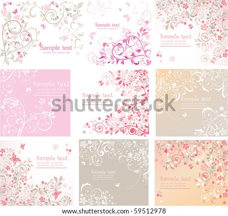 Vintage floral cards - stock vector