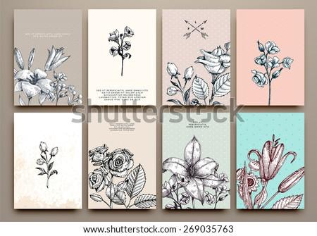 vintage floral cards set. frame ...