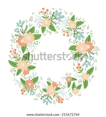 Vintage floral compositions wreath frame