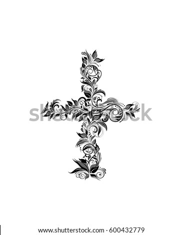 vintage floral cross  black and
