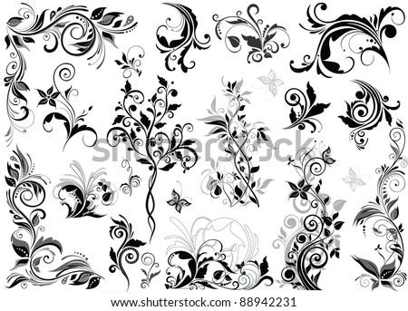 Vintage Floral Design Elements Stock Vector 88942231 : Shutterstock