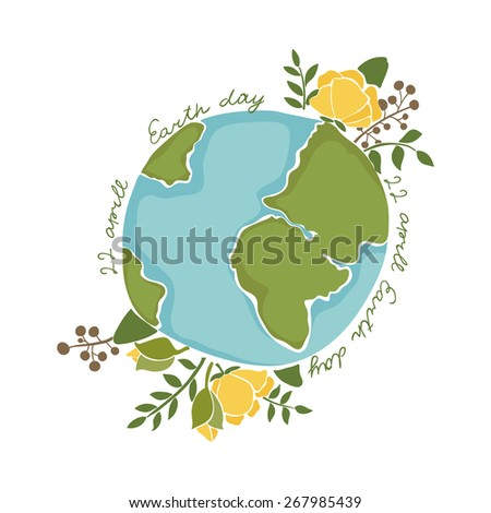 vintage floral earth day card