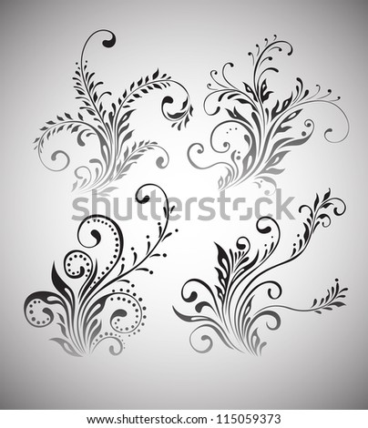 Vintage floral elements vector design - stock vector