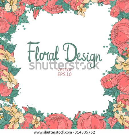 Vintage Floral Frame and place for your text.  Perfect for wedding invitations and birthday cards - Shutterstock ID 314535752